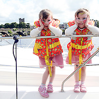 Emma and Abbey O' Neill await the parade at the Brian Boru Festival in Killaloe/Ballina on Saturday.<br />