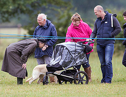 Princess Anne joins Mike Tindall and baby Mia to watch Zara Phillips compete on High Kingdom in the dressage.. Image ©Licensed to i-Images Picture Agency. 02/08/2014. Minchinhampton, United Kingdom. Gatcombe Festival of Eventing. Gatcombe Park. Picture by i-Images
