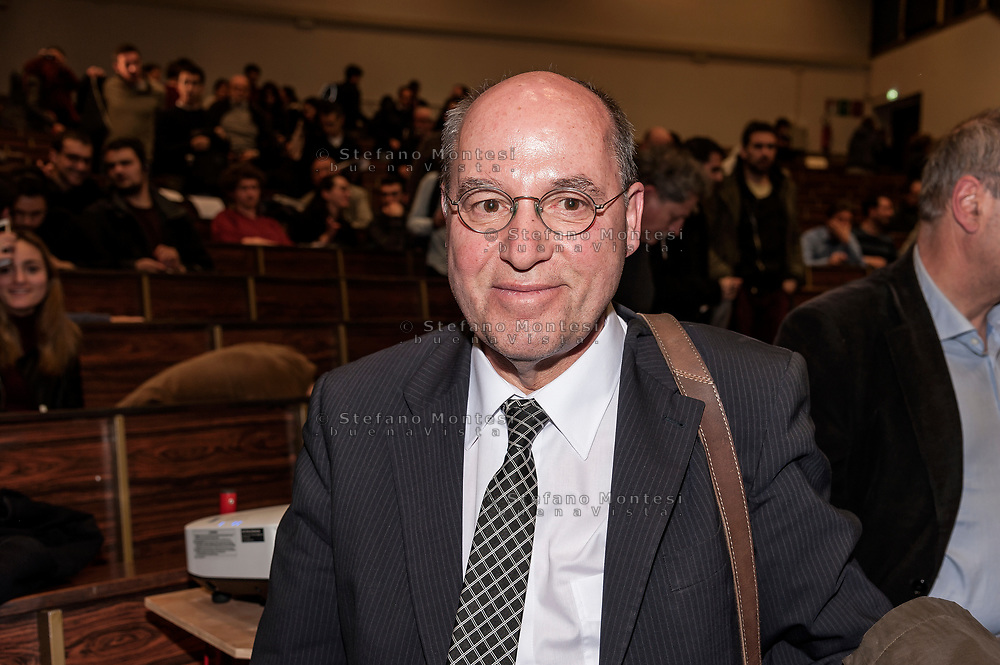 "ROME, ITALY - MARCH 23:  Gregor Gisy President of the Party of the European Left participated in the meeting ""Transform Europe"",  which was held to University La Sapienza. In the courtroom to hear the greek prime minister many militants of the radical left, from different parties, and associations on March 23, 2017 in Rome;Italy."