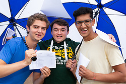 © Licensed to London News Pictures. 16/08/2018. Warwick, UK. Warwick School, A level results. All off to study at Oxford, Jacob Weeks, Andrew Tinkler, Anurag Choksey having achieved the required grades. Photo credit: Dave Warren/LNP