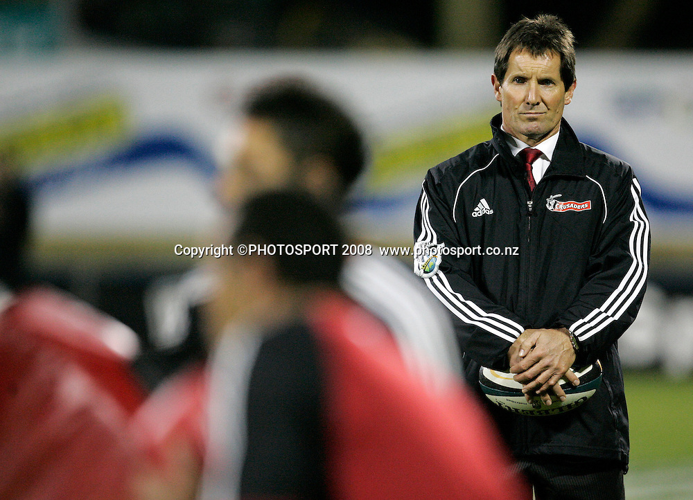 Crusaders coach Robbie Deans watches his team warm up. Crusaders v Hurricanes. Super 14 Semi-Final rugby. AMI Stadium, Christchurch, New Zealand. Saturday 24 May 2008. Photo: Tim Hales/PHOTOSPORT