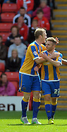Mark Ellis (left) of Shrewsbury Town claims the goal against Barnsley during the Sky Bet League 1 match at Oakwell, Barnsley<br /> Picture by Graham Crowther/Focus Images Ltd +44 7763 140036<br /> 05/09/2015