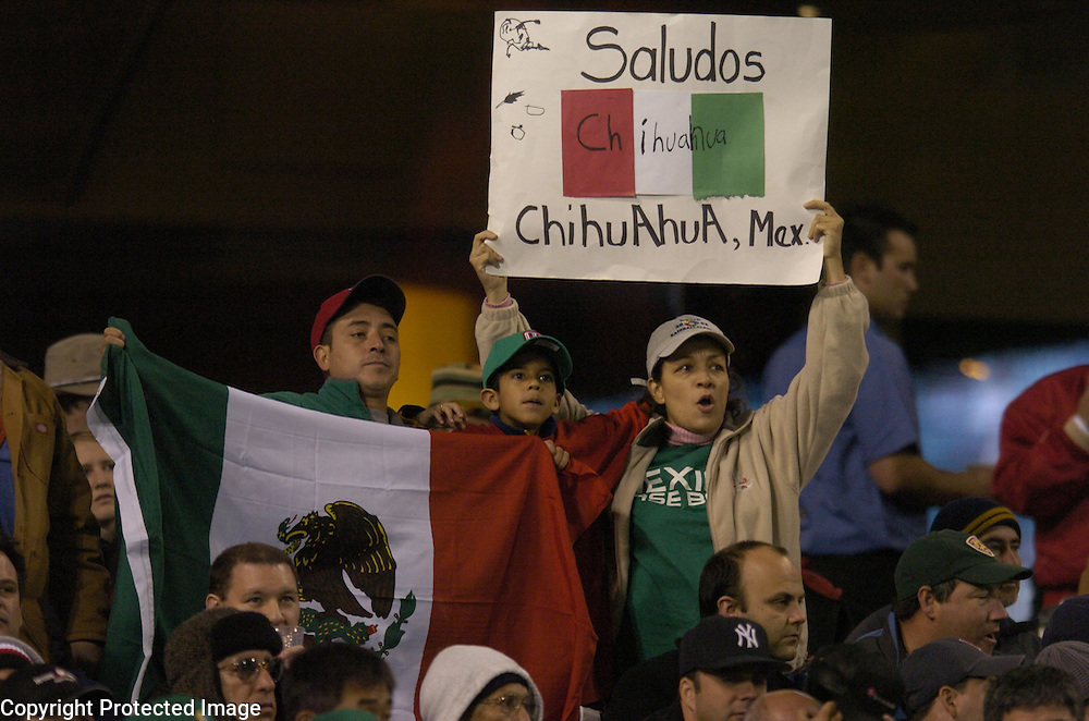 Team Mexico fans hold up a banner and flag during Round 2 action against Team Korea at Angel Stadium of Anaheim.