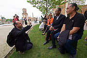"56th Art Biennale in Venice - All The World's Futures.<br /> Arsenale.<br /> Lemi Ponifasio (r.), ""LAGIMOANA"", 2015. Biennale Director Okwui Enwezor (2nd from r.)"
