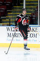 KELOWNA, CANADA - FEBRUARY 14: Connor Clouston #2 of Moose Jaw Warriors skates against the Kelowna Rockets on February 14, 2015 at Prospera Place in Kelowna, British Columbia, Canada.  (Photo by Marissa Baecker/Shoot the Breeze)  *** Local Caption *** Connor Clouston;