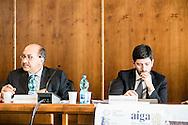 Potenza, Basilicata, Italia, 19/05/2016.<br /> I deputati Cosimo Latronico (Conservatori e Riformisti) e Roberto Speranza (Partito Democratico) durante l'incontro sulla Stepchild Adoption al tribunale di Potenza<br /> <br /> Potenza, Basilicata, Italy, 19/05/2016<br /> The members of Parliament Cosimo Latronico (Conservatives and Reformists) and Roberto Speranza (Democratic Party) during the meeting on Stepchild Adoption at courthouse in Potenza