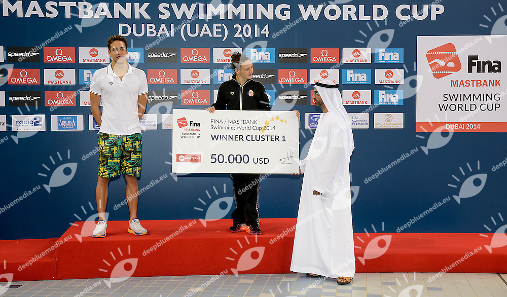 Chad Le Clos South Africa and Katinka Hosszu Hungary<br /> FINA Mastbank Swimming World Cup 2014<br /> Dubai, UAE  2014  Aug.31 th - Sept.1st<br /> Day2 - Sept.1  finals<br /> Photo G. Scala/Deepbluemedia