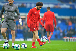 LIVERPOOL, ENGLAND - Sunday, March 3, 2019: Liverpool's Mohamed Salah during the pre-match warm-up before the FA Premier League match between Everton FC and Liverpool FC, the 233rd Merseyside Derby, at Goodison Park. (Pic by Paul Greenwood/Propaganda)
