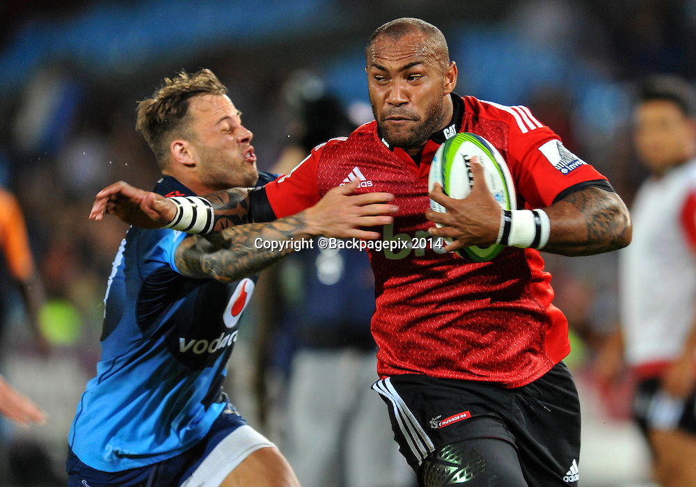 Nemani Nadolo of the Crusaders and Francois Hougaard of the Bulls during the 2015 Super Rugby rugby match between the Bulls and the Crusaders at the Loftus Versfeld Stadium in Pretoria, South Africa on March 28, 2015 ©Samuel Shivambu/BackpagePix