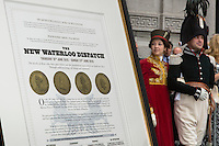 Belgium Brussels 19 June 2015 Official ceremony with the post chaise party at the Royal War Museum.The ride <br /> Commemorates the journey of the New Waterloo Dispatch, carrying the news, and a  captured French eagle banner. An actor in period uniform  representing Major Harry Percy carries a modern interpretation of Wellington&rsquo;s Dispatch from Waterloo back to London.DIspatch and 2 reenactors