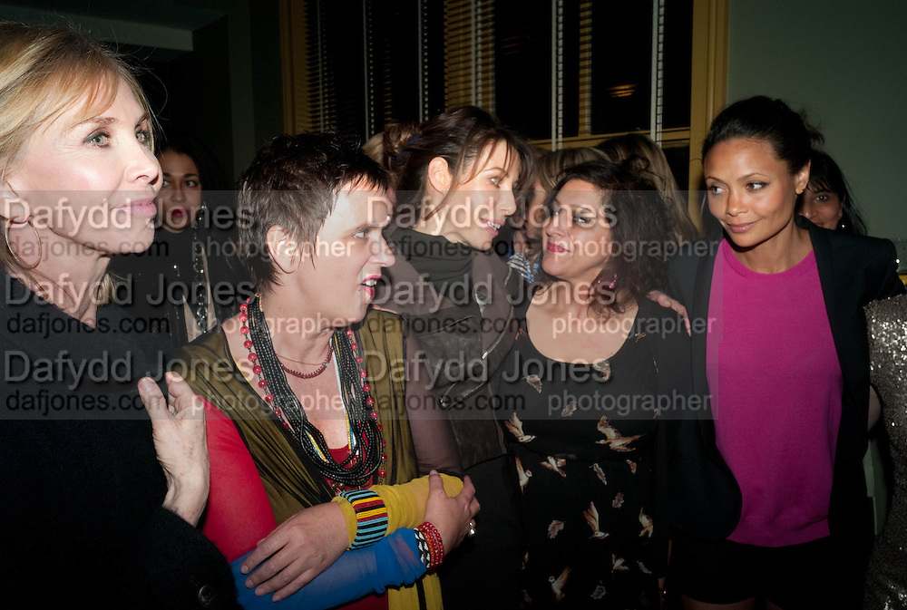 Trudie Styler, Eve Ensler, Lauren Prakke, Meera Syal, Thandie Newton;MyAnna Buring, Party after the opening of  A Memory, A Monologue, A Rant, and A Prayer  at Century Club.  Restless Buddha's fundraising event helping women around the world. All proceeds raised from the sale of tickets go to Women for Women International, V-Day and Domestic Violence Intervention Project. 26 March 2012