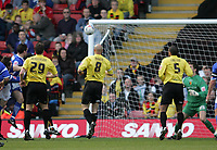 Photo: Lee Earle.<br /> Watford v Ipswich Town. Coca Cola Championship. 17/04/2006. Ipswich's Nicky Forster (L) scores their first goal.