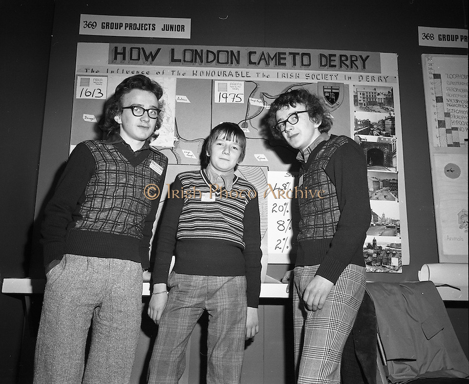 03/01/1975.01/03/1975.3rd January 1975.The Aer Lingus Young Scientist Exhibition at the RDS, Dublin...Picture shows Alfie Burns (left) and Frank Barry of Mount Sion CBS, Waterford, who did a project on Irelands offshore oil and gas resources in the junior section of the Group Projects.
