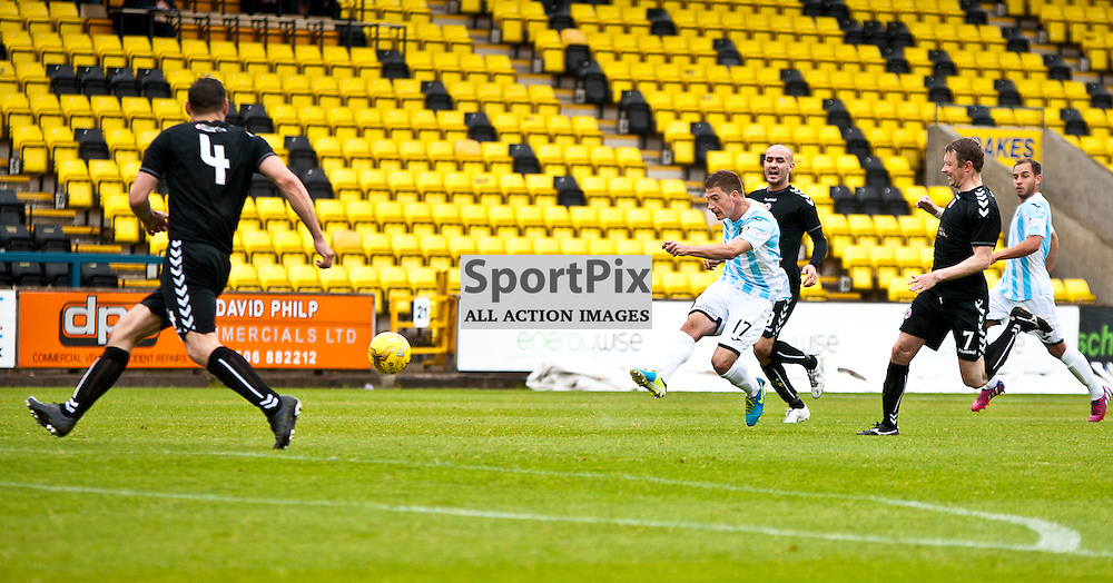 Livingston v Clyde; Scottish League Cup 1st Round, 1st August 2015; Livingston's Spas Georgiev takes a shot during the Livingston v Clyde Scottish League Cup 1st round match played at Almondvale Stadium; © Chris Johnston | SportPix.org