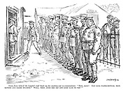 "Voice from behind (to hospital staff lined up for combing-out re-examination). ""Now, boys! Got your water-bottles, iron-rations and smoke helmets? Well, then, over the top and good luck to you!"""