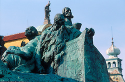 CZECH REPUBLIC BOHEMIA PRAGUE JUL97 - Monument of Jan Hus on Prague's Old Town Square.. . jre/Photo by Jiri Rezac. . © Jiri Rezac 1997. . Contact: +44 (0) 7050 110 417. Mobile:  +44 (0) 7801 337 683. Office:  +44 (0) 20 8968 9635. . Email:   jiri@jirirezac.com. Web:     www.jirirezac.com