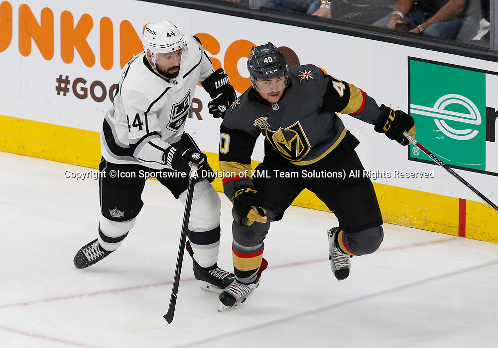 LAS VEGAS, NV - APRIL 11: Los Angeles Kings center Nate Thompson (44) and Vegas Golden Knights center Ryan Carpenter (40) in action during Game One of the Western Conference First Round of the 2018 NHL Stanley Cup Playoffs between the L.A. Kings and the Vegas Golden Knights Wednesday, April 11, 2018, at T-Mobile Arena in Las Vegas, Nevada. The Golden Knights won 1-0.  (Photo by: Marc Sanchez/Icon Sportswire)
