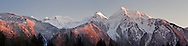 Panorama of the snow covered Cheam Range in the Fraser Valley of British Columbia.