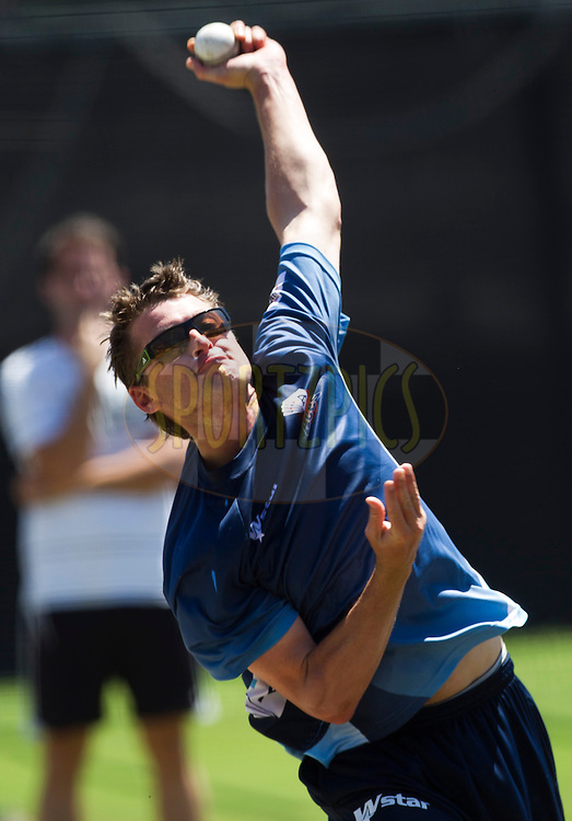 Bruce Martin bowls in the nets during the Auckland Aces practice session held a Kingsmead Stadium in Durban on the 18th October 2012..Photo by Rogan Ward/SPORTZPICS/CLT20
