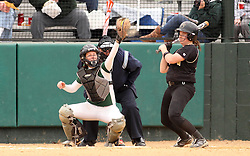 30 March 2013:  Kaity Crane catches during an NCAA Division III women's softball game between the DePauw Tigers and the Illinois Wesleyan Titans in Bloomington IL<br />