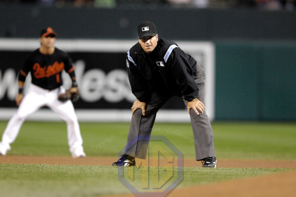 28 September 2007:  Umpire Tony Randazzo in action during the game between the New York Yankees and the Baltimore Orioles.  The Orioles defeated the Yankees 10-9 in ten innings at Camden Yards in Baltimore, MD.  ****For Editorial Use Only****