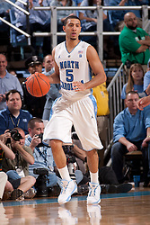 CHAPEL HILL, NC - MARCH 05: Kendall Marshall #5 of the North Carolina Tar Heels dribbles the ball while playing the Duke Blue Devils on March 05, 2011 at the Dean E. Smith Center in Chapel Hill, North Carolina. North Carolina won 67-81. (Photo by Peyton Williams/UNC/Getty Images) *** Local Caption *** Kendall Marshall