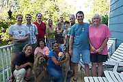 "A dedicated group of greyhound advocates at a thank-you BBQ hosted by NJGAP for rescuing lost greyhoud ""Leon."""