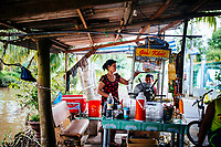 Sugarcane juice for sale on the side of the road in the Mekong Delta in southern Vietnam.