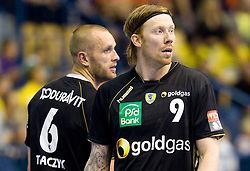 Grzegorz Tkaczyk (#6) of RNL and Borge Lund (#9) of RNL during Velux EHL Champions league 2010/2011 Group A men handball match between HC Celje Pivovarna Lasko of Slovenia and Rhein-Neckar Loewen of Germany, on October 2, 2010 in Arena Zlatorog, Celje, Slovenia. Rhein-Neckar Löwen defeated Celje Pivovarna Lasko 32 - 28. (Photo By Vid Ponikvar / Sportida.com)