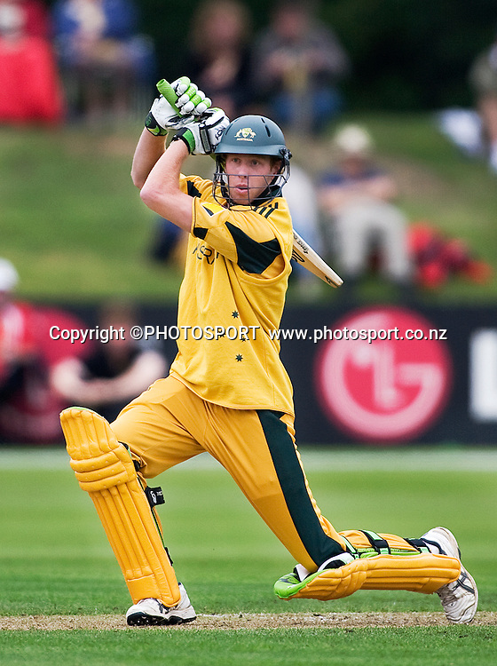 Australian batsman Jason Floros during his innings of 16. New Zealand v Australia, U19 Cricket World Cup Quarter Final, Mainpower Oval, Rangiora, Sunday 24 January 2010. Photo : Joseph Johnson/PHOTOSPORT