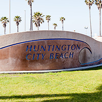 Photo of Huntington Beach sign. Huntington Beach is a beach city in Orange County Southern California in the United States.
