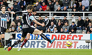 George Boyd (r) of Burnley scoring their third during the Barclays Premier League match at St. James's Park, Newcastle<br /> Picture by Simon Moore/Focus Images Ltd 07807 671782<br /> 01/01/2015