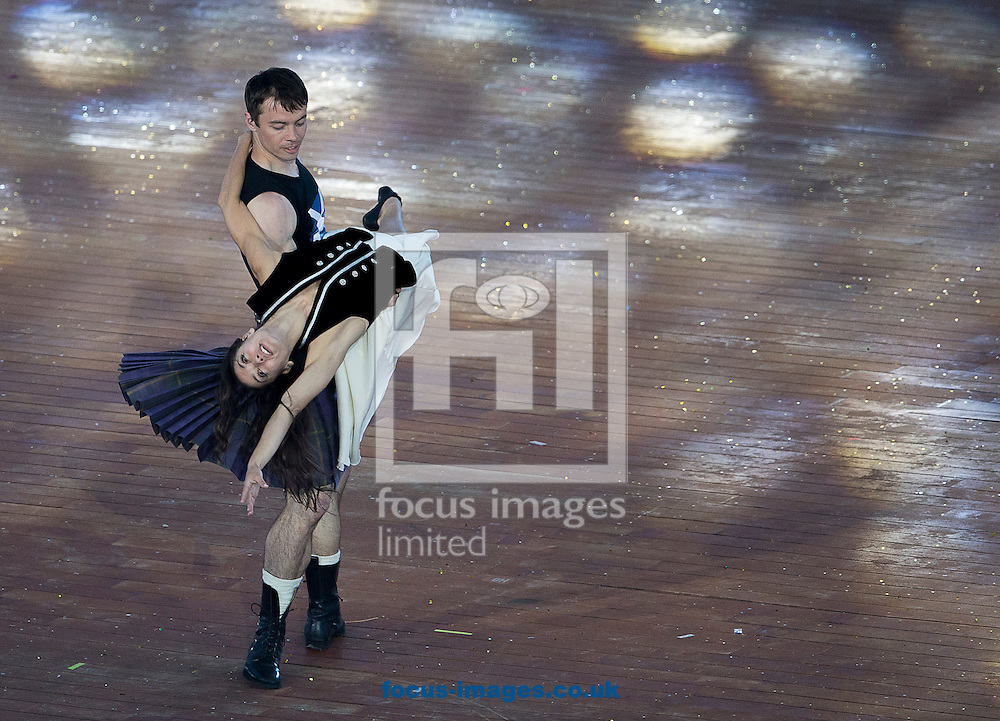 Members of the Scottish Ballet perform during the Glasgow 2014 Commonwealth Games Opening Ceremony at Celtic Park, Glasgow<br /> Picture by Paul Terry/Focus Images Ltd +44 7545 642257<br /> 23/07/2014
