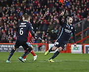 Gary Harkins celebrates after putting Dundee 3-1 up -  Aberdeen v Dundee, SPFL Premiership at Pittodrie <br />