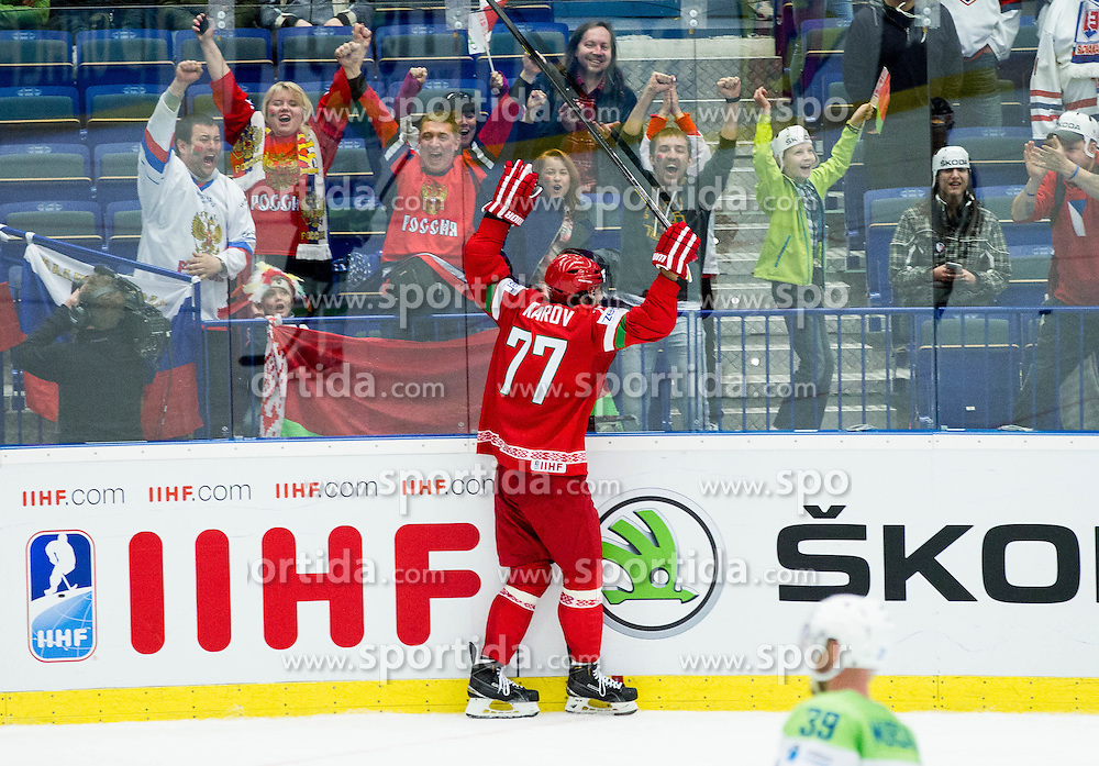 Alexander Kitarov of Belarus celebrates after scoring last goal during Ice Hockey match between Belarus and Slovenia at Day 2 in Group B of 2015 IIHF World Championship, on May 2, 2015 in CEZ Arena, Ostrava, Czech Republic. Photo by Vid Ponikvar / Sportida