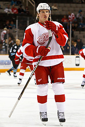 March 3, 2011; San Jose, CA, USA;  Detroit Red Wings left wing Justin Abdelkader (8) warms up before the game against the San Jose Sharks at HP Pavilion.  San Jose defeated Detroit 3-1. Mandatory Credit: Jason O. Watson / US PRESSWIRE
