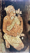 Painting of a Buddhist monk from the Ajanta cave temples, India. 5th-6th century AD.