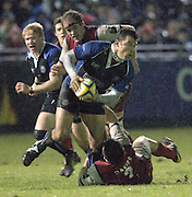 2005/06 Powergen Cup, Bath Rugby vs Gloucester Rugby, Frikkie Welsh looks for support, to pass the ball, after  Mefin Davies tackles low. at the Rec, as Bath Rugby, run out winners against Gloucester Rugby, on the 03.12.2005.   © Peter Spurrier/Intersport Images - email images@intersport-images..