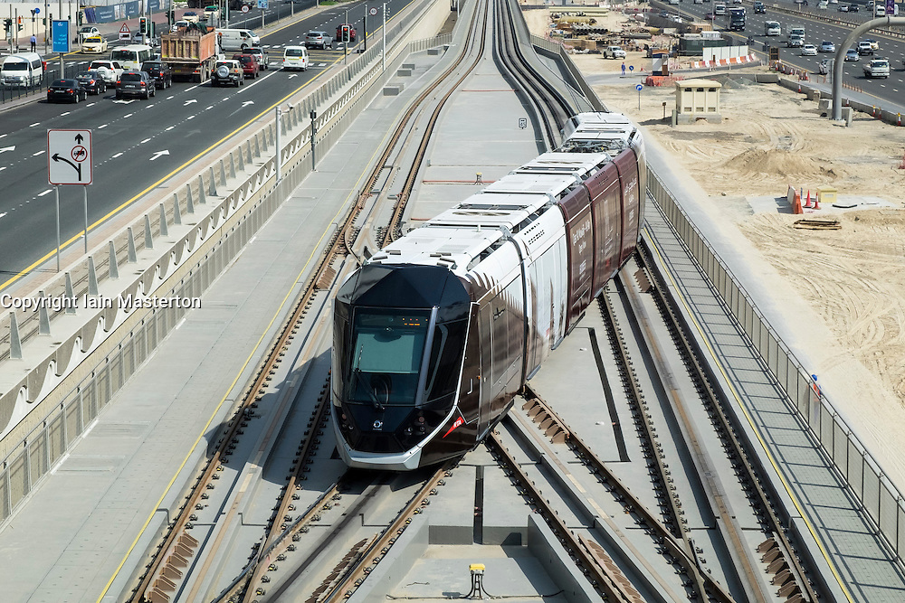 View of Dubai Tram system in United Arab Emirates