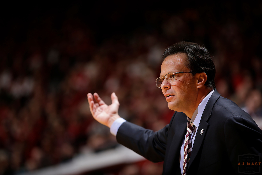 Indiana head coach Tom Crean as Penn State played Indiana in an NCCA college basketball game in Bloomington, Ind., Tuesday, Jan. 13, 2015. (AJ Mast)