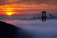 Golden Gate Bridge and fog at sunrise from the Marin Headlands, California