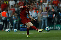 ISTANBUL, TURKEY - AUGUST 14: Andrew Robertson of Liverpool shoots on goal during the warm-up ahead of the UEFA Super Cup match between Liverpool and Chelsea at Besiktas Park on August 14, 2019 in Istanbul, Turkey. (Photo by MB Media/Getty Images)