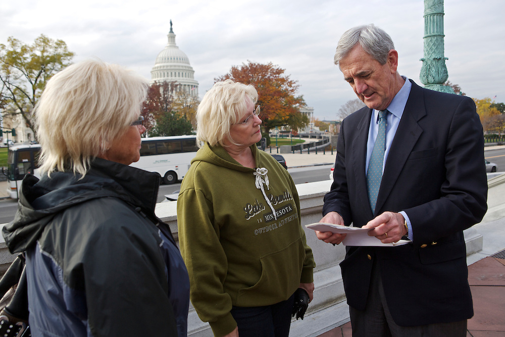 Rep.-elect Rick Nolan, D-Minn., talks to two of his constituents, Karen Moller, center, and Lynn Burdges on Nov. 15, 2012 in front of the Library of Congress in Washington, D.C. Nolan arrived in Washington, D.C. this week to register for orientation. He served three terms in Congress from 1975 until 1980 in Minnesota's 6th disrict.