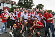 England and Wales fans mixing together before the Rugby World Cup Pool A match between England and Wales at Twickenham, Richmond, United Kingdom on 26 September 2015. Photo by David Charbit.
