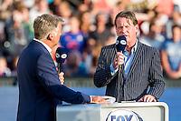 ROTTERDAM - Feyenoord - Olympiakos FC, Voetbal , Seizoen 2015/2016 , oefenwedstrijd , Stadion de Kuip , 01-07-2015 , Fox Sports presentator Cristian Willaert (l) en analyst en voormalig trainer van Feyenoord Mario Been (r)
