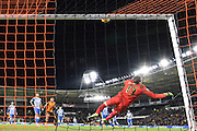 Hull City striker Abel Hernandez (9) shot rebounds of the bar  during the Sky Bet Championship match between Hull City and Brighton and Hove Albion at the KC Stadium, Kingston upon Hull, England on 16 February 2016. Photo by Ian Lyall.