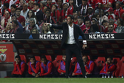 August 9, 2017 - Lisbon, Portugal - Benfica's coach Rui Vitoria gestures from the sideline during the Portuguese League  football match between SL Benfica and SC Braga at Luz  Stadium in Lisbon on August 9, 2017. (Credit Image: © Carlos Costa/NurPhoto via ZUMA Press)