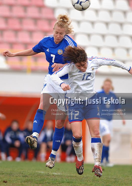 Anne M&auml;kinen.&amp;#xA;Naisten maajoukkue, Algarve Cup, maaliskuu 2005.&amp;#xA;Photo: Jussi Eskola<br />