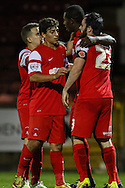 Marvin Bartley of Leyton Orient (2nd right) celebrates scoring his team's second goal against Northampton Town to make it 2-0 during the Johnstone's Paint Trophy match at the Matchroom Stadium London,<br /> Picture by David Horn/Focus Images Ltd +44 7545 970036<br /> 11/11/2014
