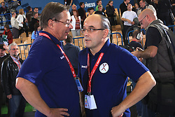 Head coach of Slovenia Miro Pozun and Stane Ostrelic at qualification match for  Euro 2010 in Austria between national teams of Slovenia and Germany, Group 5, on November 2, 2008 in Arena Zlatorog, Celje, Slovenia. (Photo by Vid Ponikvar / Sportal Images)/ Sportida